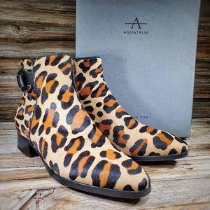 Aquatalia Faria Haircalf Leopard Ankle Boots